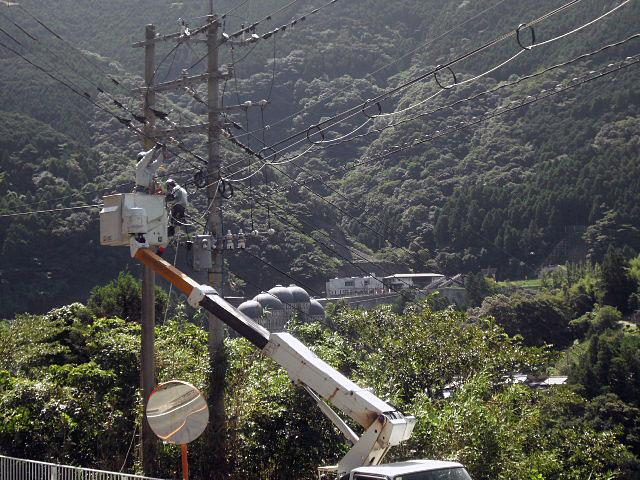 河川横断光ケーブル架線工事